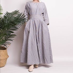 Vintage 90s striped cotton sweeping market dress